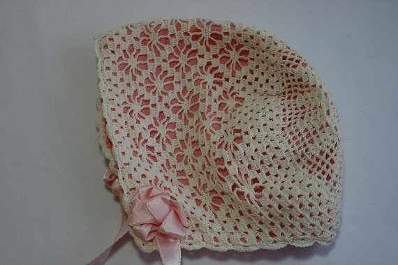 Vintage Antique Handmade Crochet Baby Bonnet Hat  $24.00