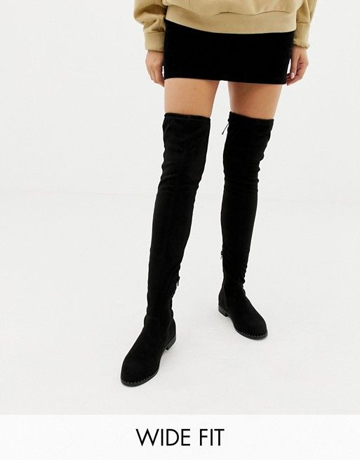 a55d9c6c0aa ASOS DESIGN Wide Fit Kaska flat studded over the knee boots  72.00