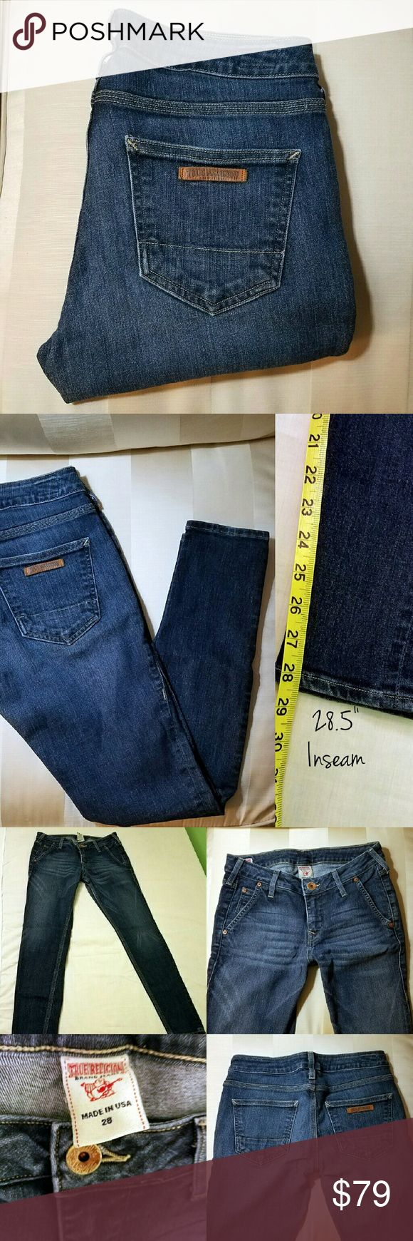 "True Religion Skinnies EUC: worn a few times but still in excellent condition  INSEAM: 28.5"" SIZE: 28 COLOR: Darkwash  Super cozy with a good amount of stretch to them. More of a thicker jegging material/look to them. Love them, just don't fit me anymore.  OFFERS WELCOME (EXCLUDES ""final sale"" Items). BUNDLE &SAVE! THANKS FOR STOPPING BY! -Bobbie True Religion Jeans Skinny"