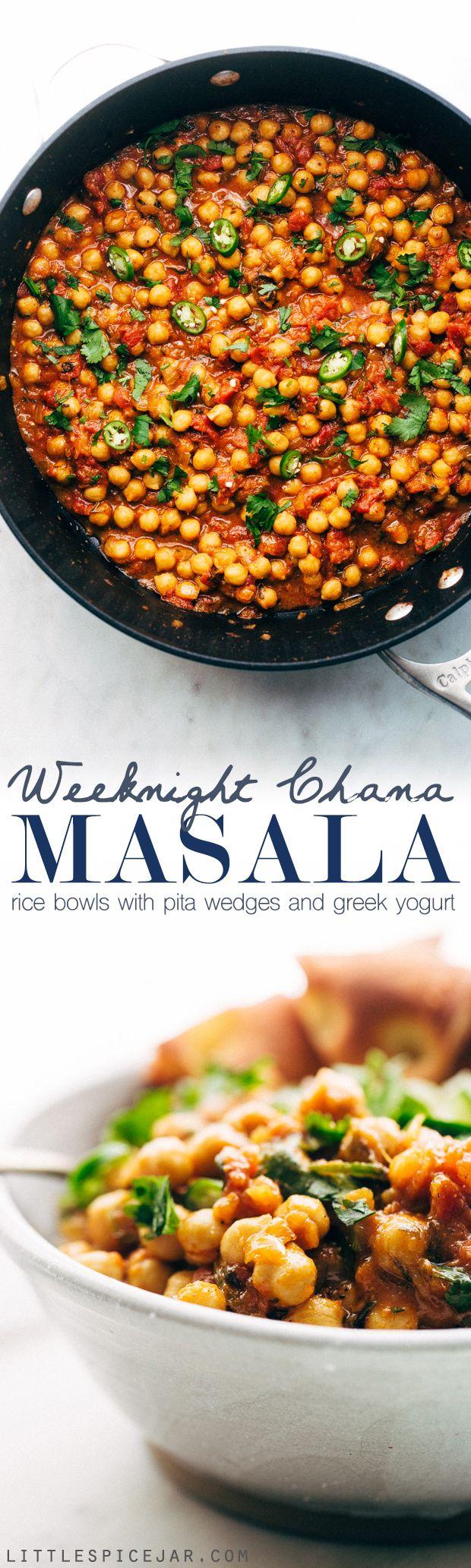 Weeknight Chana Masala Rice Bowls - A quick weeknight take on the traditional Chana Masala! Serve over basmati rice and it's the perfect warm and cozy winter meal! #chanamasala #indianfood #chana #vegan | Littlespicejar.com