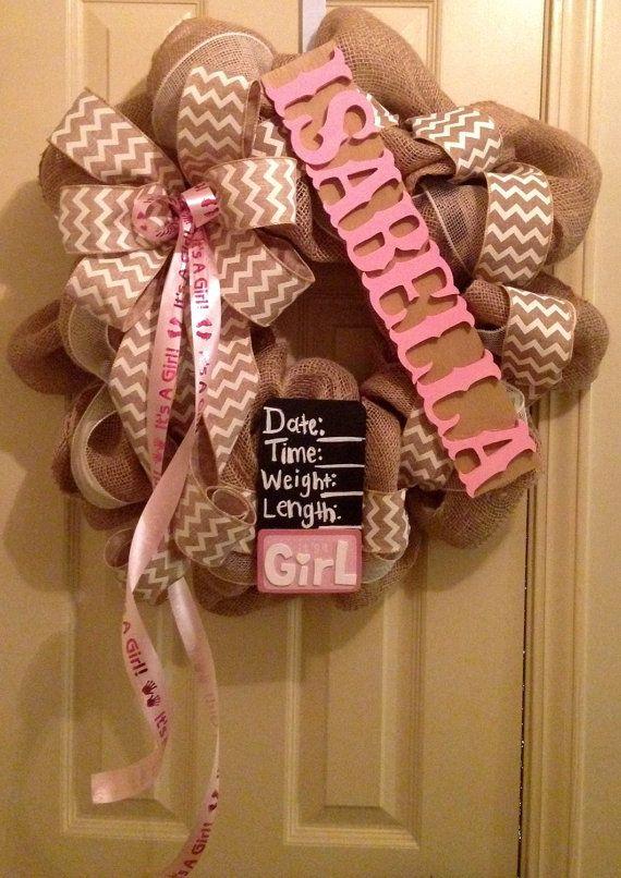 Baby Girl wreath for hanging on hospital door by CuteWreathsByHope