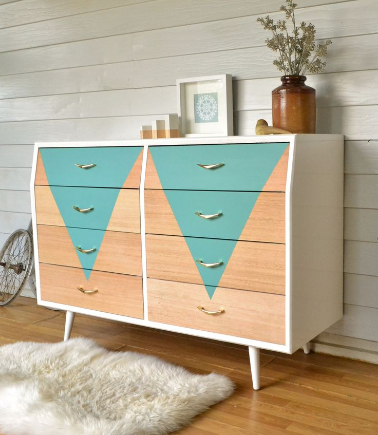 Original 60s chest of drawers. Painted in gloss white, with raw timber drawers and teal geometric feature. www.rawrevivals.com.au