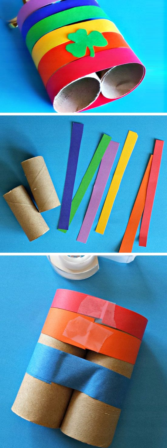 Rainbow Toilet Paper Roll Binoculars | DIY St Patricks Day Crafts for Toddlers to Make