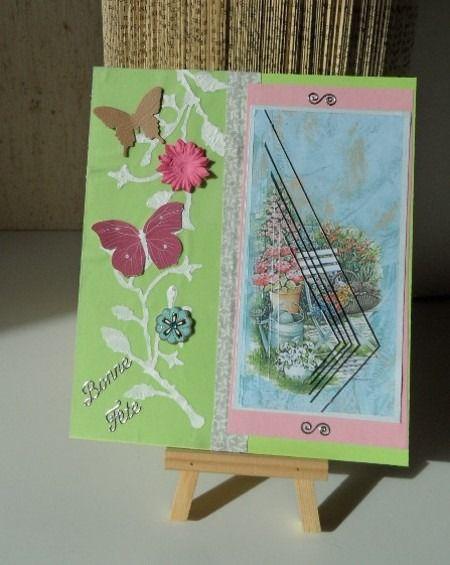 Carte avec décor jardin fleuri en 3D : Cartes par made-by-newscrapeuse