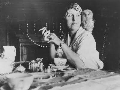 Danish writer Karen Blixen and her owl (1882-1962)