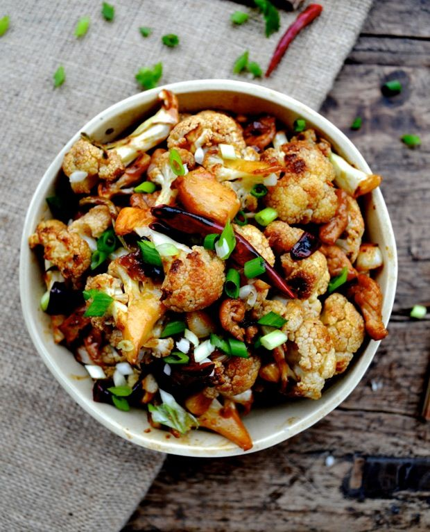 EASY ROASTED CAULIFLOWER STIR-FRY which can be made vegetarian by ...