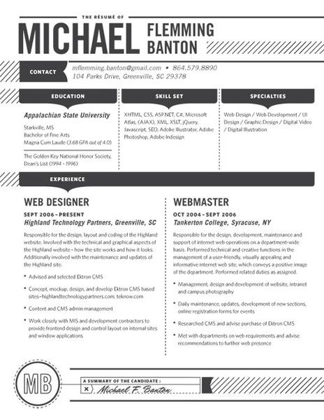 10 Best images about Contemporary Resumes on Pinterest | Scouts ...