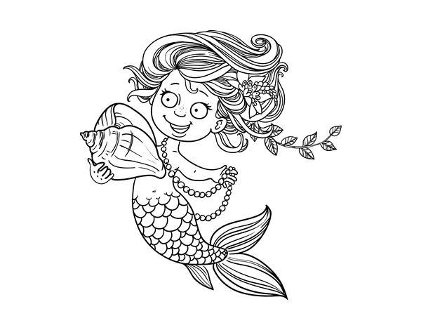 Dibujos De Sirenas Para Colorear Pintar E Imprimir: Sirenas Para Colorear. Dibujo De Silueta De Sirena Para