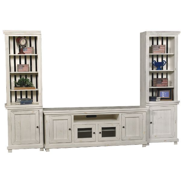 Distressed White 3 Piece Rustic Entertainment Center – Willow
