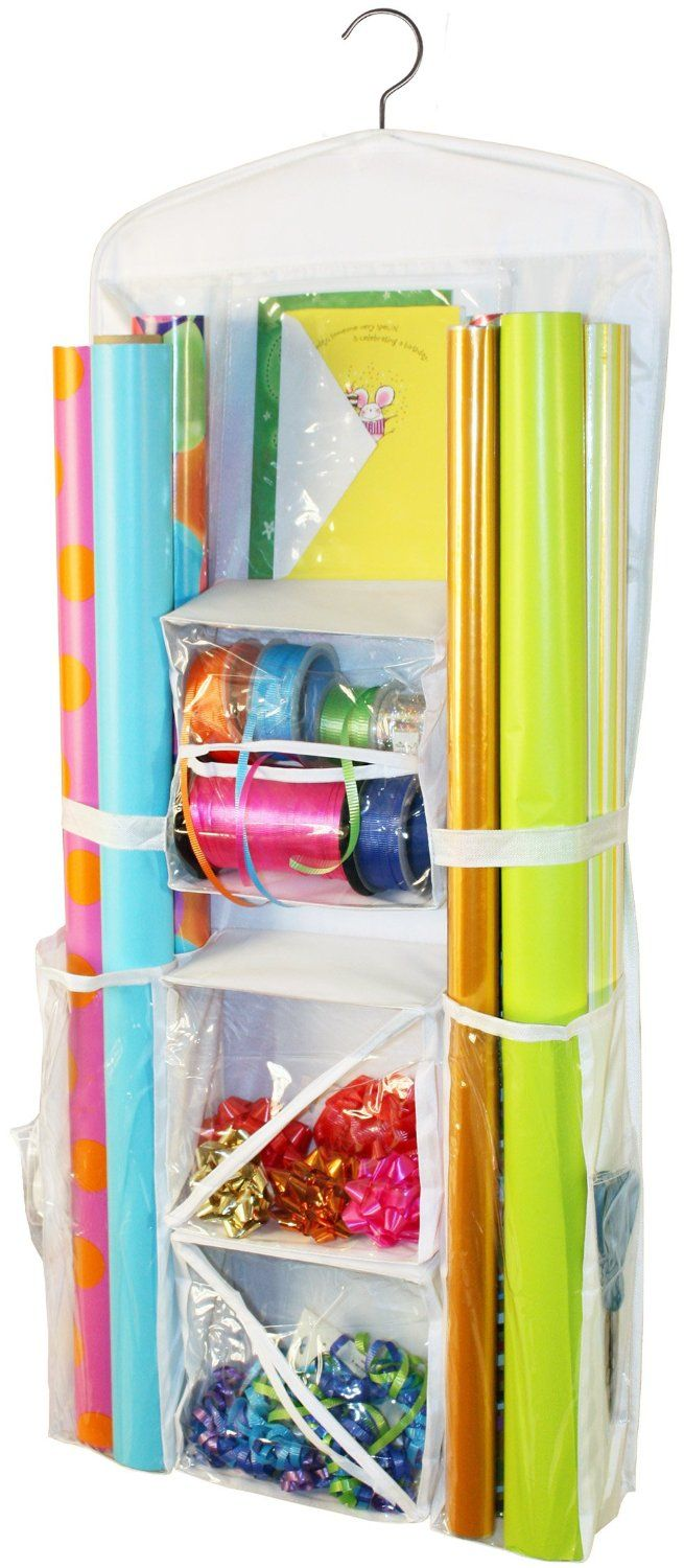 Brand New Hanging Gift Wrap Organizer Wring Paper Storage Container Scissors