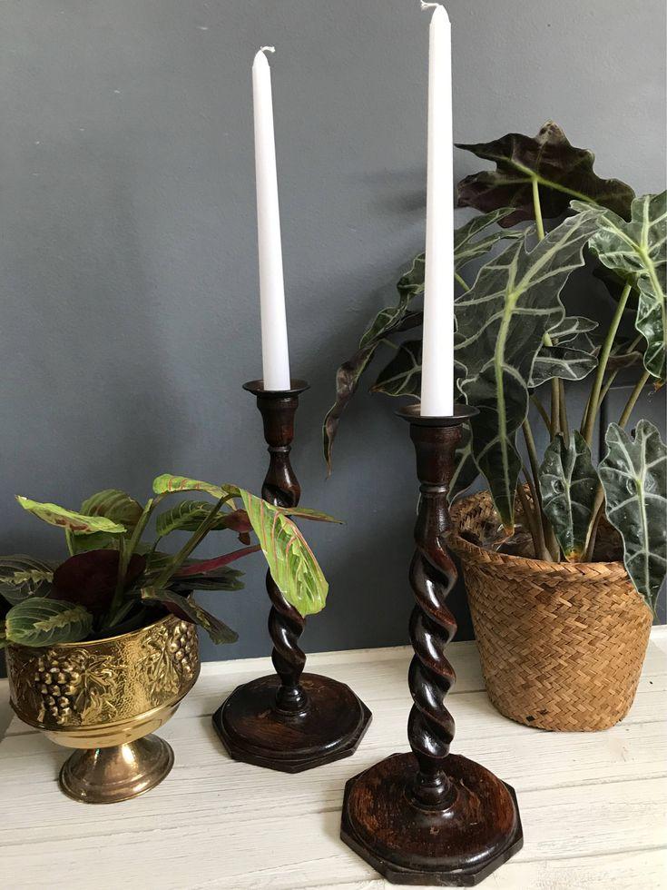 Wooden candleholder, wood candlesticks, Antique pair english barley twisted wood candlesticks, vintage midcentury modern candlesticks, by BankandBleeker on Etsy https://www.etsy.com/listing/489437532/wooden-candleholder-wood-candlesticks