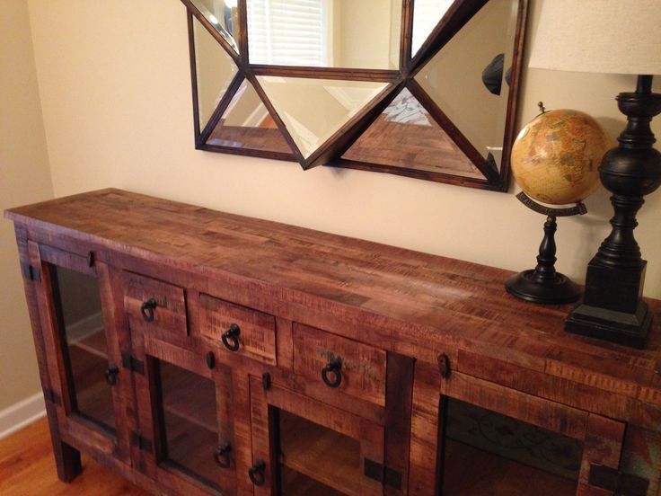 rustic sideboard made from recycled lumber