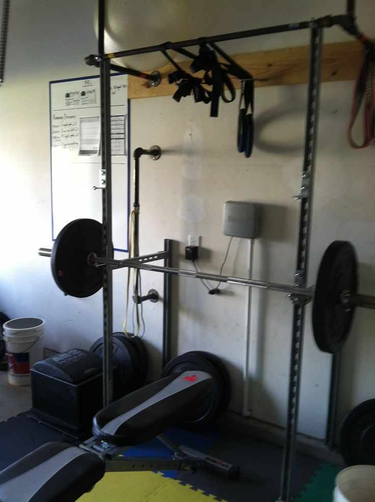 Homemade unistrut bench and squat rack w pullup bar for A squat rack