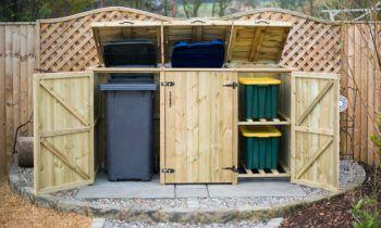 mülltonnenbox selber bauen 4er-scharniere-türen--sichtschutzzaun-kies-beete