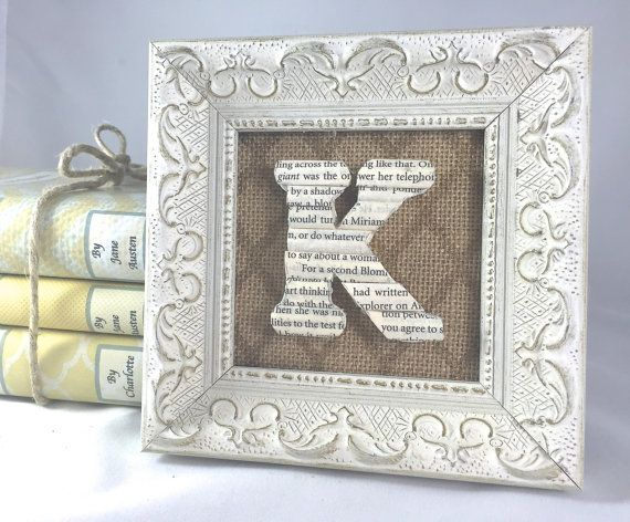 Small Framed Initial Framed book letter Small by ArtfulLibrary