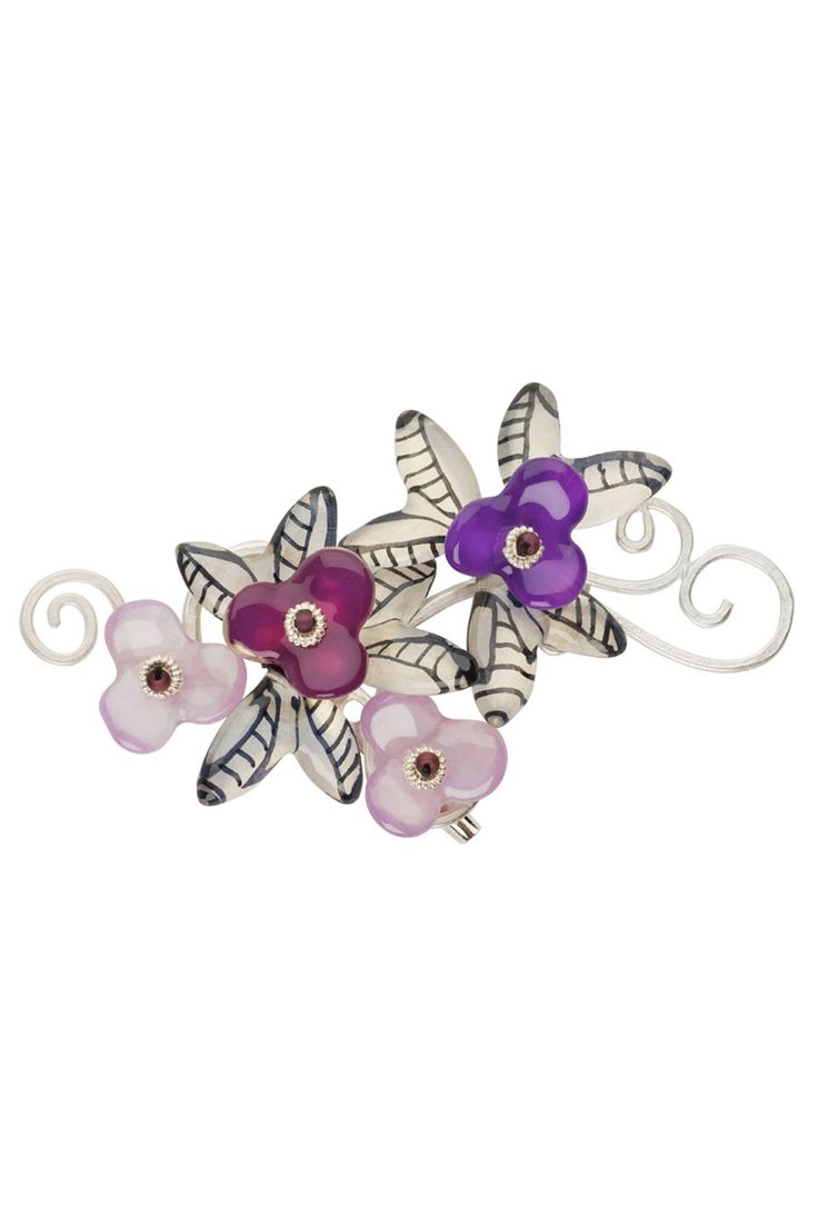 Lalo Treasures Four Seasons Brooch in Black, White and Purple - Beyond the Rack