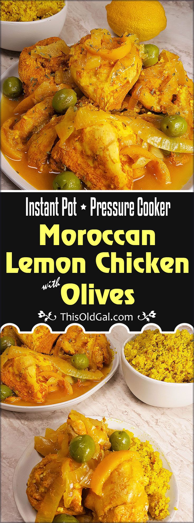 Pressure Cooker Moroccan Lemon Chicken with Olives is infused with Lemons, Fragrant Spices and Salty Green Olives. Take a trip to Morocco with me. via @thisoldgalcooks