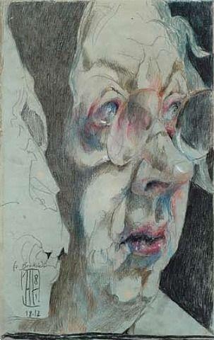 Selbst mit Totenschädel by Horst Janssen,