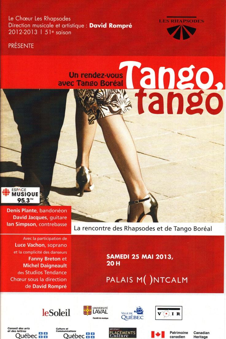 Mai 2013 Tango, tango - Un rendez-vous avec Tango Boréal Les Rhapsodes