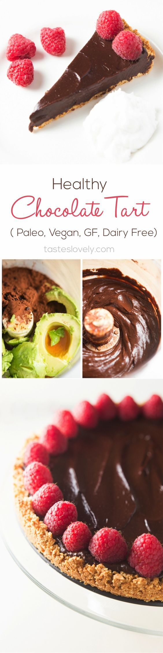 Healthy chocolate tart made with avocados, cocoa powder and sweetened with pure maple syrup. So delicious! #paleo #vegan