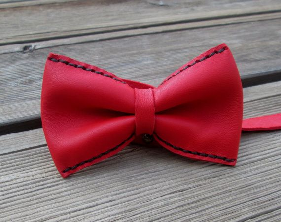 Leather  bow tie men bow tie red bow tie leather red by EnCuero
