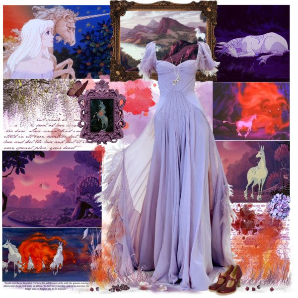 The Last Unicorn -purple and red tones, created by cyanideteaparty on Polyvore