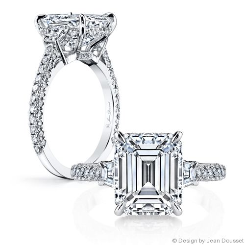 LAUREN is a custom, traditionally handcrafted Jean Dousset Diamonds signature diamond engagement ring design - JeanDousset.com - shown with an Emerald cut diamond.