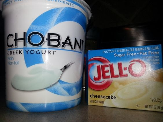 Skinny Cheesecake! High Protein! 100 calories and 12 g of protein per serving! 1 cup Greek Yogurt, 2 tbsps of Fat-Free Jello Cheesecake Mix, and 1/4 cup of Almond Milk. Blend/whisk and enjoy 2 servings!