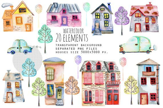 Watercolor House Clipart House Illustration Kids Clipart Etsy Watercolor Clipart Watercolor Art Set