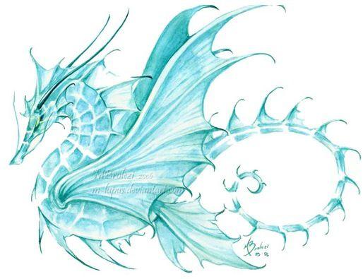 Beautiful tattoo design. Water dragon