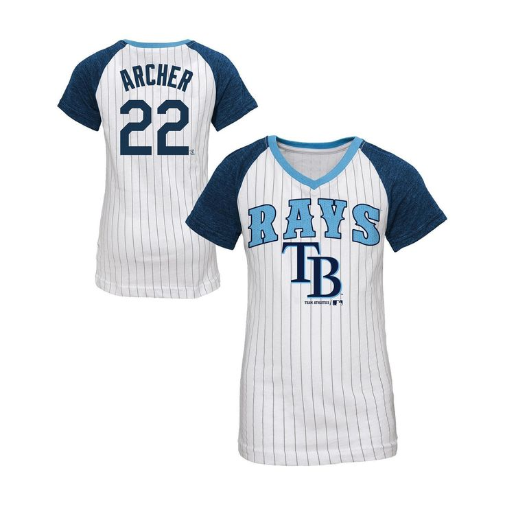 Tampa Bay Rays Girls' Chris Archer Pinstripe T-Shirt Jersey - White S, Multicolored White
