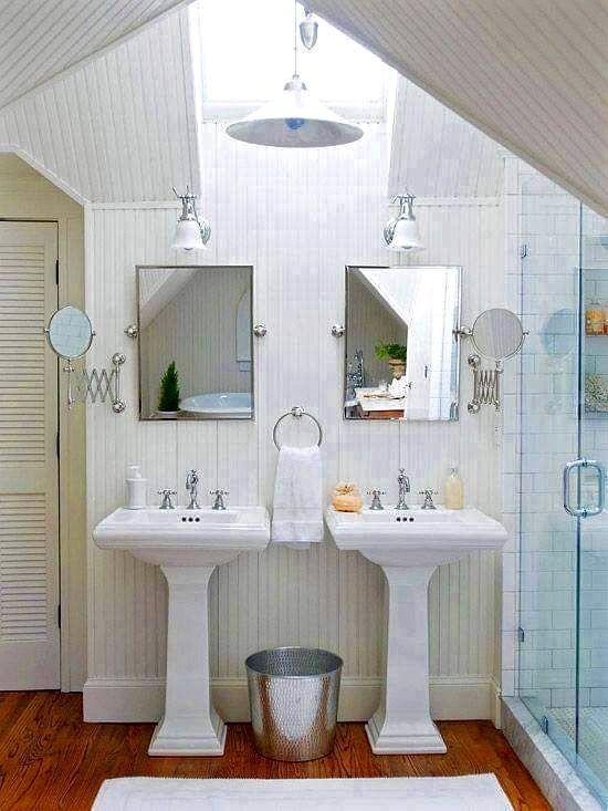 Ba o con tragaluz 2 lavabos de pedestal ba os pinterest for Banos 2 lavabos