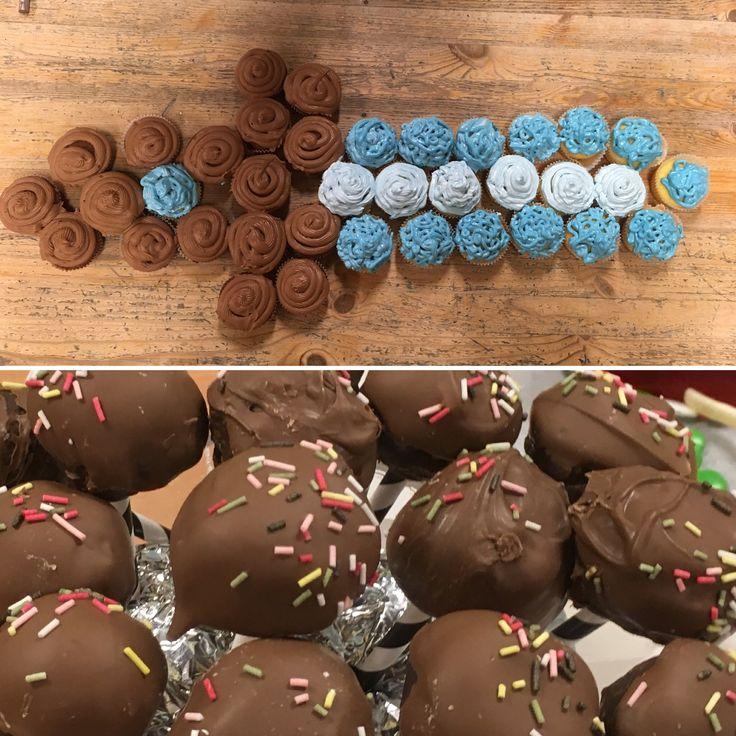Diamondsword m vanilje og sjokoladekakemuffins og cakepops
