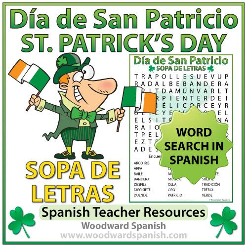 Word Search with Vocabulary about St. Patrick's Dayin Spanish. Sopa de Letras con vocabulario acerca del Día de San Patricio.