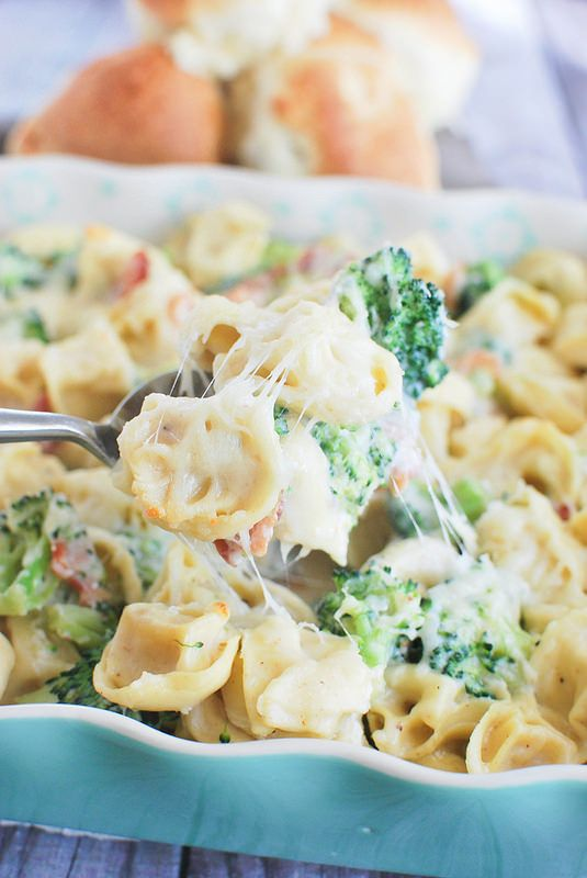 Bacon Tortellini Bake - easy cheesy meal that's ready in under 30 minutes! The whole family will love it!