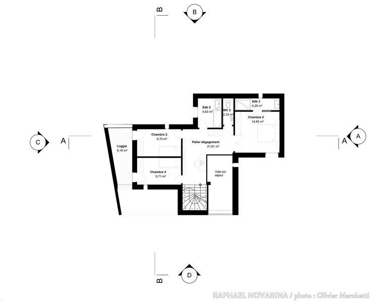 Suite du plan d'une maison sur trois niveaux de 250m2. | Maison, Sdb