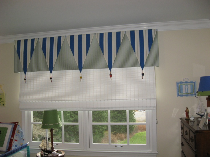 Pennant flags for window treatment jack 39 s room for Blinds for kids rooms