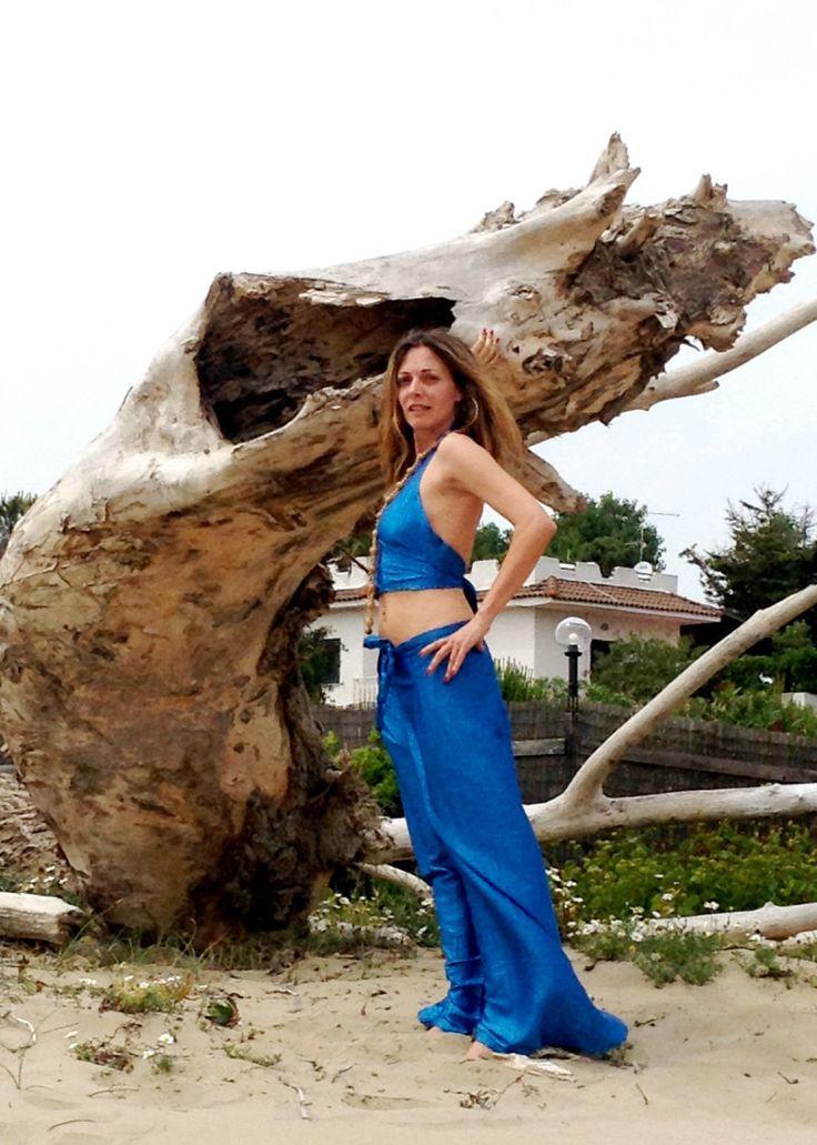 Top and Trouser Twin Set Beachrobe Cover Up Blue Thai Silk One Size Top Pantalone Harem Copricostume Boho Hippie Seta Thai Turchese Mare di BeHappieWorld su Etsy