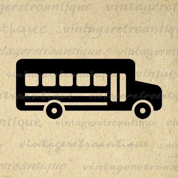 Printable Digital School Bus Graphic Symbol Education School