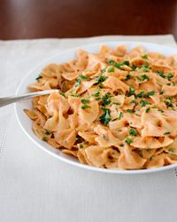 Bow Ties with Sun-Dried Tomato and Scallion Cream Recipe AB: Really, really easy to make and very tasty.  Sun-dried tomato taste was not over-powering at all. @foodandwine