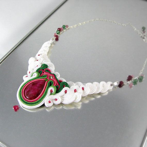 Soutache bridal necklace wedding jewelry by byPiLLowDesign on Etsy, $193.00