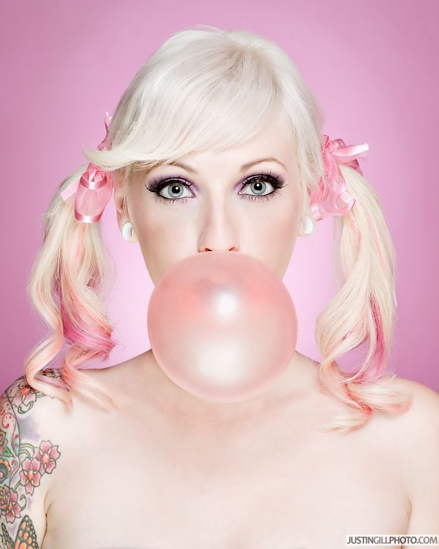 Teen Girl Blowing Bubblegum Bubble Stock Image