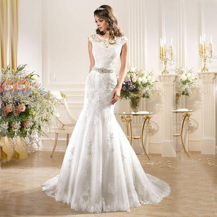 >> Click to Buy << Custom Made Trouwjurk White O Neck Wedding Dresses 2017 Tulle Mermaid Wedding Dress Cap Sleeve Vestido De Noiva Bridal Gown #Affiliate
