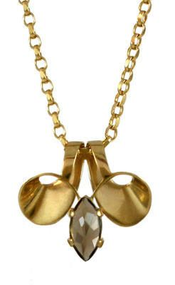 Volute, smoky quartz gemstone pendant, gold plated silver #gold #contemporary #boutique #London  #designer #jewellery #handmade #NudeJewellery