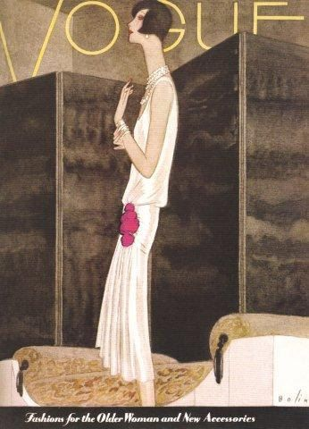 Vintage Vogue Magazine Cover Art,  Early November 1928.
