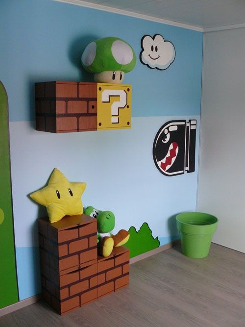 Super Mario Bedroom- I don't mind the blue stripes for the walls