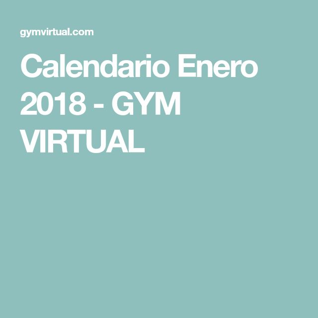 Calendario Enero 2018 - GYM VIRTUAL