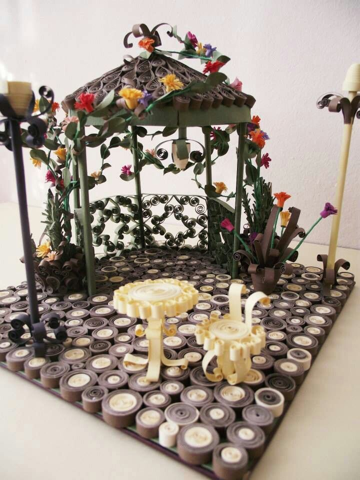 Miniature quilled gazebo