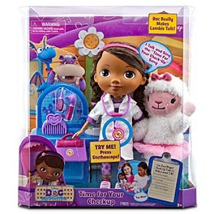 E - Doc McStuffins Doll Set  7-Piece set includes Doc McStuffins doll, Lambie plush toy, stethoscope, otoscope, thermometer, comb and Doctor's bag  Doc McStuffins talks and sings the Time For Your Check-Up song when you press her stethoscope!  Use Doc's magical check-up tools to make Lambie talk  Listen to Lambie's heart with stethoscope  Thermometer makes Lambie giggle  Glitter accented accessories   Doll 12'' H  Plush 9 1/2'' H: Disney Stores, Mcstuffins Dolls, Doc Mcstuffins, Gifts Ideas, Dolls Sets, Ideas Pres, Kids, Stores Grace, Christmas Gifts