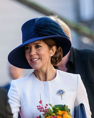 Crown Princess Mary during the Royal family's arrival to the Parliament, where they will attend the opening of the Parliament at Christiansborg in Copenhagen on October 4, 2016, in Denmark.
